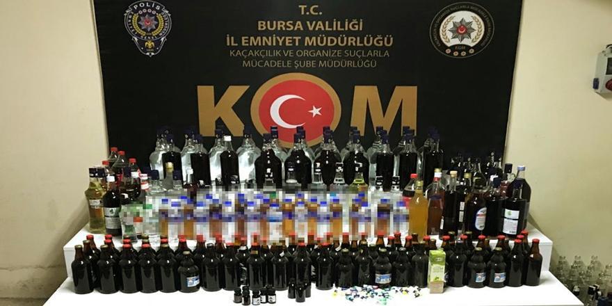 Bursa'da Sahte İçki Operasyonu! 210 Litre İçki Ele Geçirildi