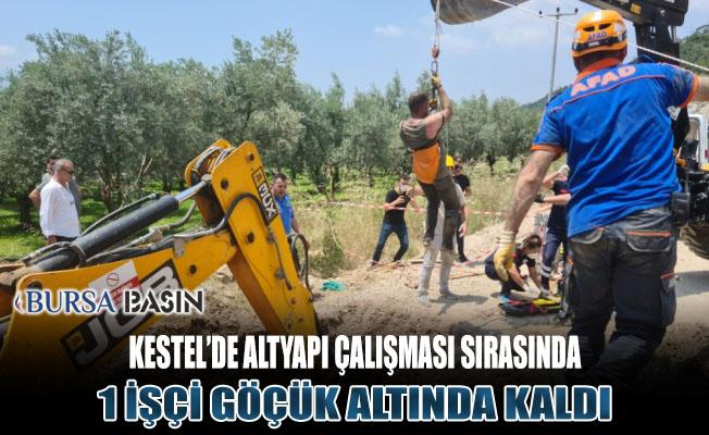 Kestel'de Altyapı Çalışmasında Kazı Yapılırken Toprak Kaydı