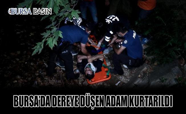 Bursa'da Dereye Düşen Adam Kurtarıldı