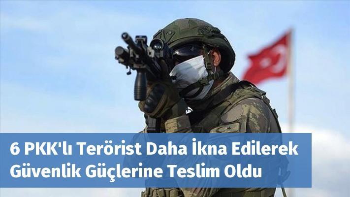 6 PKK'lı Terörist Daha İkna Edilerek Güvenlik Güçlerine Teslim Oldu